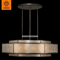 Large 12 lights Metal Mica Brown patinated bronze pendant light dining room modern