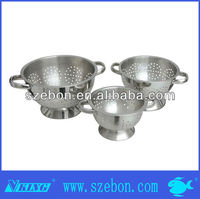 stainless steel fruit colander with stand and handle