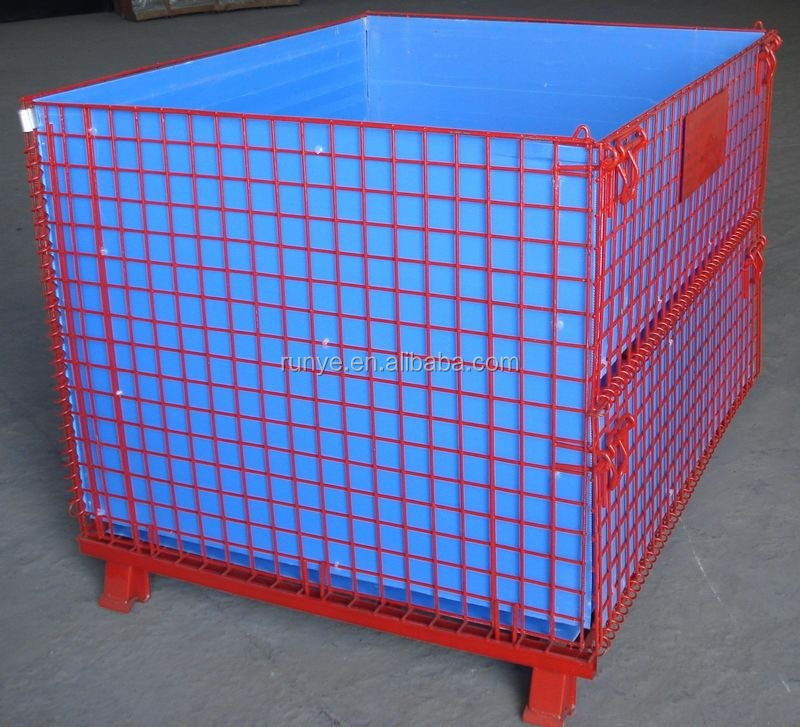 Powder coated warehouse storage cage with plastic board