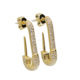 fashion cz paved pin shape stud earring with mirco pave aaaa cz stone women wedding earring gift