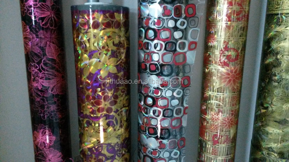 3D and Glitter embossed PVC Film without Glue for decorative material