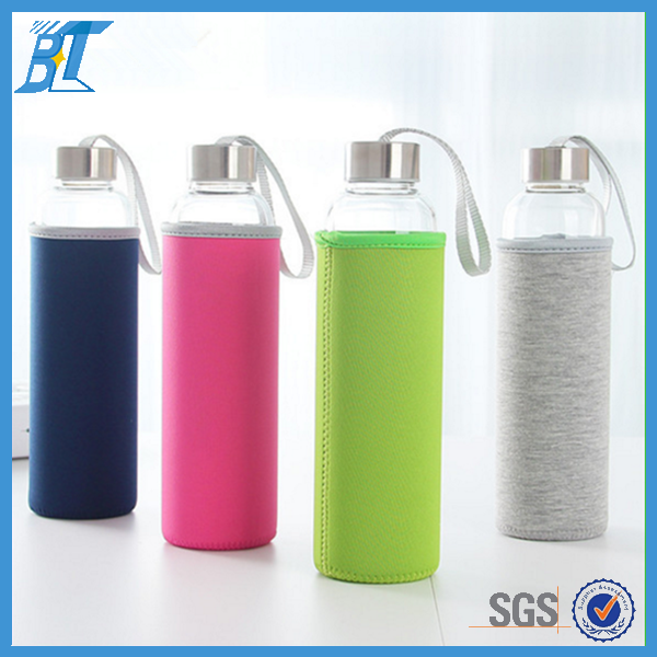 500ml soft drinks glass bottles portable water bottle with string on the lid and case