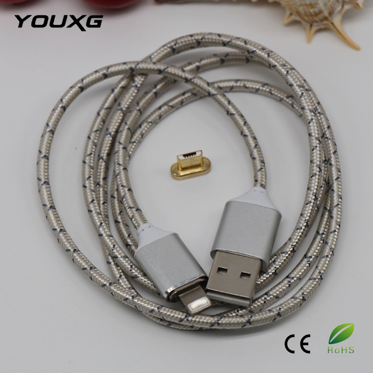 Custom logo plaited wire 10 pin nylon magnetic usb data cable with high speed for Android/IOS