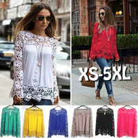 Muslim Long Sleeve Lace Revealing Blouse For Fat Woman Multicolor Selection