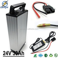 Removable Alu Case Rear Rack 24V 30ah electric bicycle lithium battery with 29.4V 2.0A Charger 30A BMS