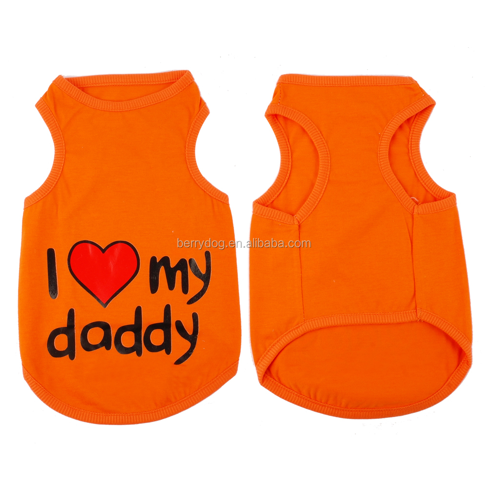 Yiwu Berry I Love Daddy Mommy Summer Cotton Pet Dog Vest T Shirt