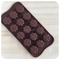 15-cavity Chocolate Silicone Mold Candy Dessert Jello Mould flowers Ice Cube mold