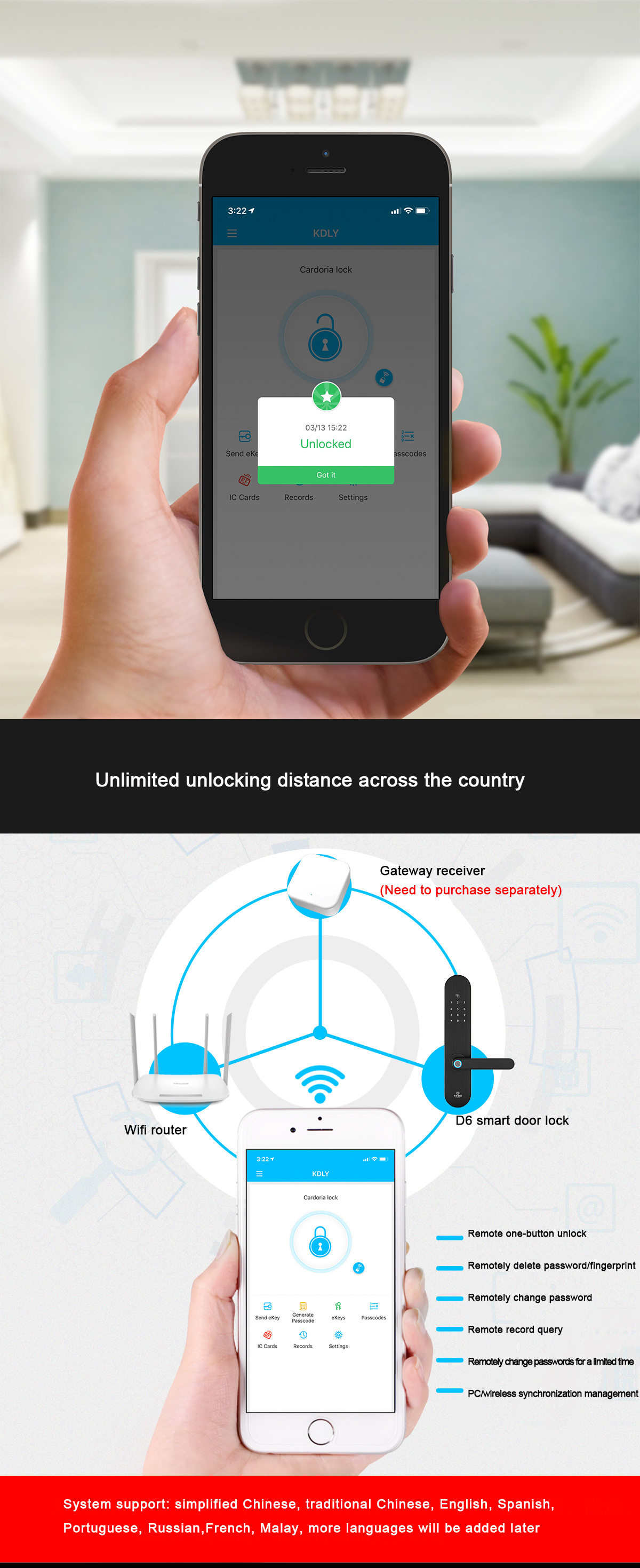 Smart phone lock app control bluetooths fingerprint password door lock support Android and IOS phone system
