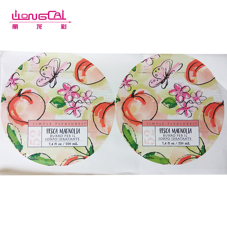 Custom printing high quality full color waterproof self adhesive perfume label sticker