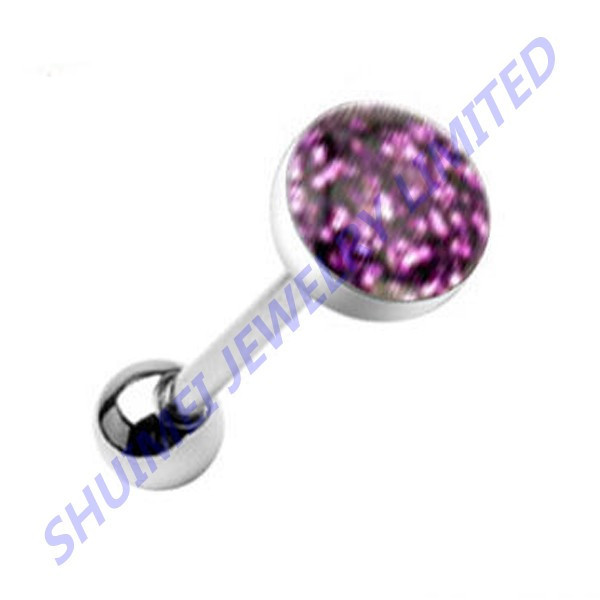 Phosphor Purple Glitter Gem Silver Steel Tongue Ring Piercing Bar Tongue Barbells Piercing Jewelry