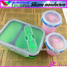 Microwave and oven safe use Eco Silicone Collapsible Lunch Box heated lunch box