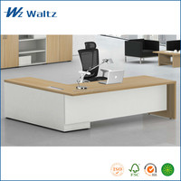 Hot sale L shape melamine furniture table, E0 grade MFC manager executive desk