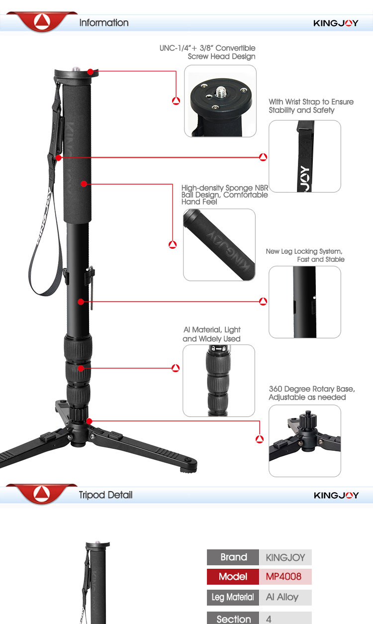 Camera accessory accessories for video and phone aluminum 1.66m monopod