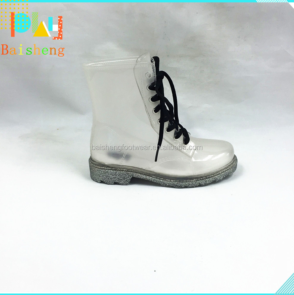 2015 New fashion high quality transparent white Martin shoes,lace boot,sexy boot
