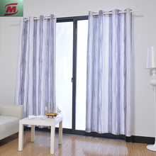 The fashion printing gradient stripes pattern faux linen windows grommet curtain for bedroom