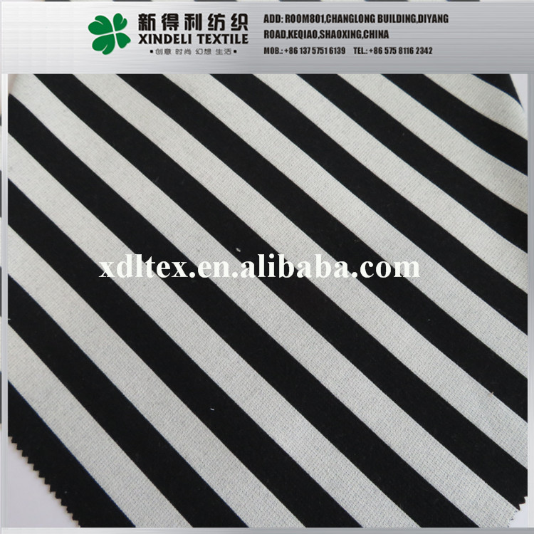 Wholesale black and white stripe woven yarn dyed soft polyester rayon spandex fabric price
