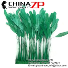 CHINAZP High Quality Plumage Wholesale Feather Size 6-8 '' Dyed Kelly Green Stripped Rooster Coque Tail Feathers Trim for Sale