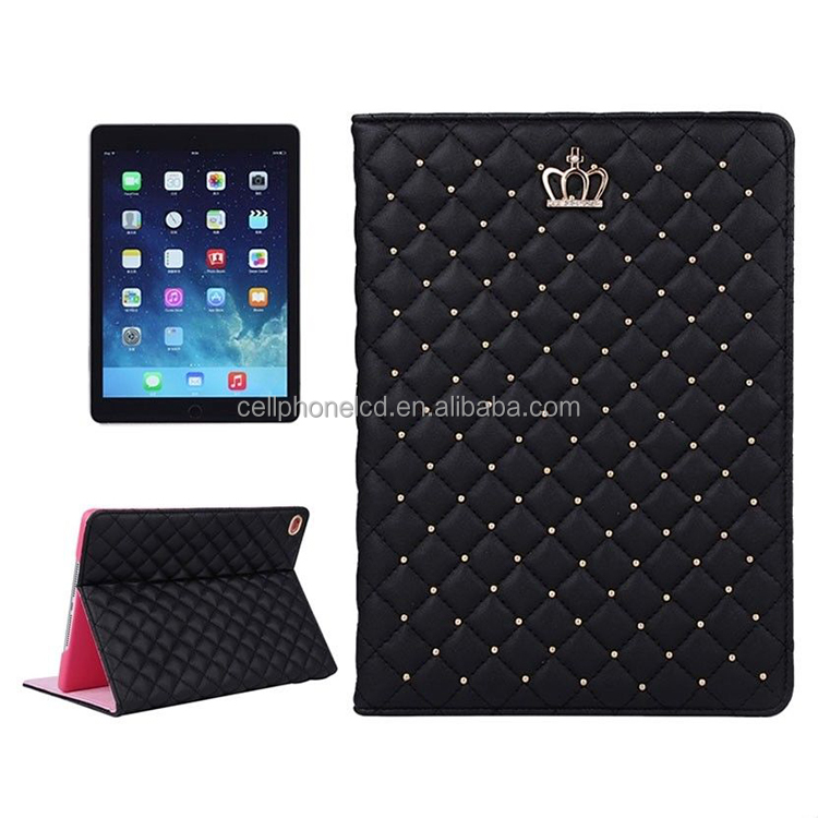Women Lady Luxury Crystal Crown Diamond Quilted Grid Soft Leather Stand UP Smart Cover Flip Case for Apple iPad 2 3 4 Air Mini