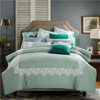 high quality 100% cotton fabric lace decor comforter sets with grass green color