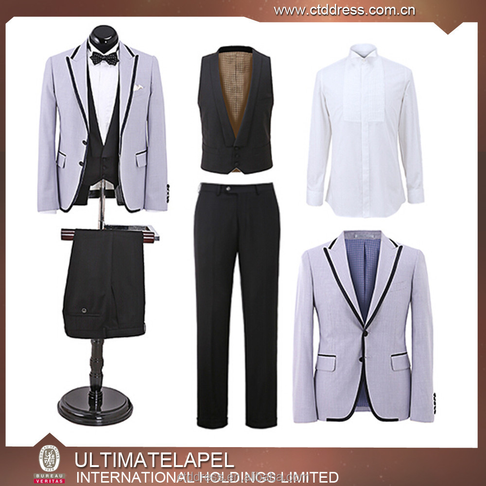 Customized Men's Leisure 3 Piece Suit,black satin trimming lapel and pockets men suits