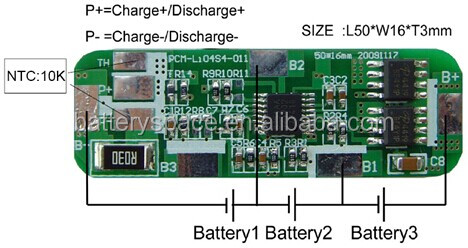 Protect Circuit Module For 11.1V Li-ion/Li-polymer Battery Pack PCM-Li04S4-011(3S)