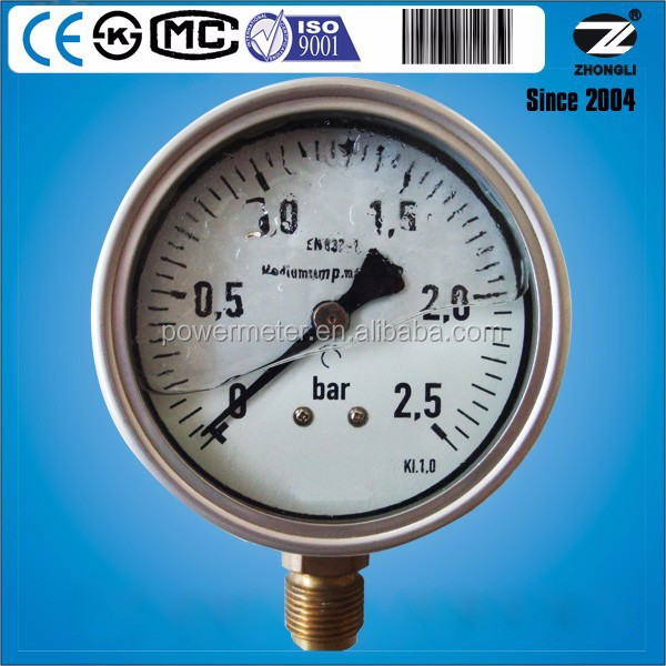 100mm stainless steel bottom connection 25bar glycerine caterpillar hydraulic pressure gauge