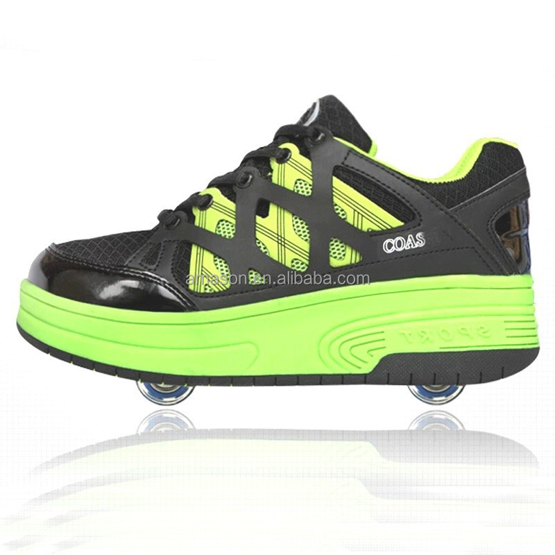 2017 High quality kids skating roller shoes one wheel or two wheels fashion skating shoes wheel roller skating shoes NO.053
