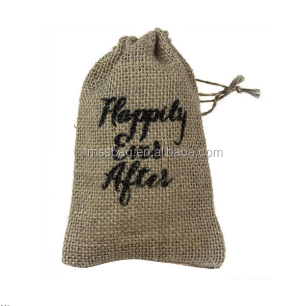 Small Linen Burlap Style Drawstring Pouch Wedding Party Favor Bags