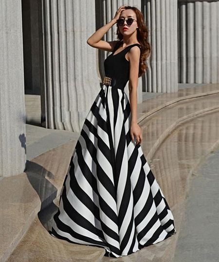 Fashion Young Ladies Casual Sexy Sleeveless Striped Stitching Large Hem Party Dress Long Dresses for Women AM000820