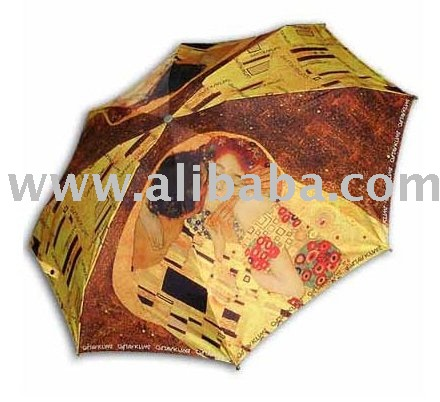 """Klimt:kiss"" famous printing 3steps auto folding umbrella"
