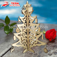 Laser cut Christmas tree with hanging ornaments