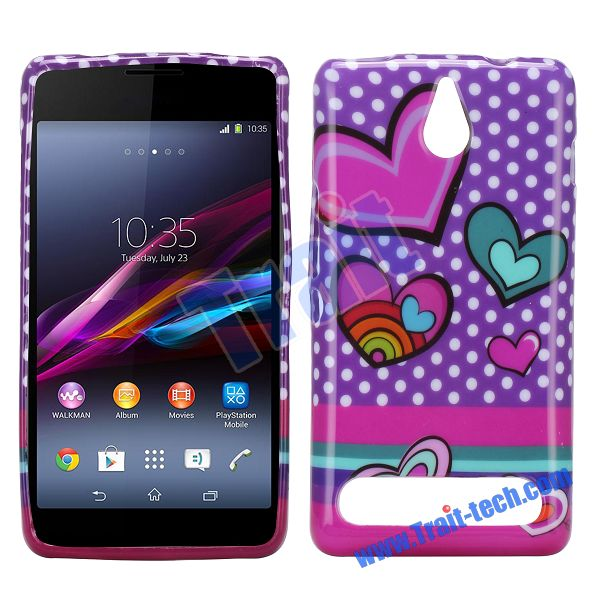 Cute Back Cover Smooth Heart TPU Cover Case for Sony Xperia E1