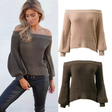 Womens Stylish Off Shoulder Balloon Sleeve A collar Pullover Sweater Knitwear