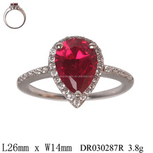 Engagement Occasion Jewelry Red Zircon Drop shaped Nice Ring