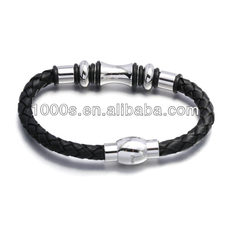 Fashion leather stainless steel bangle