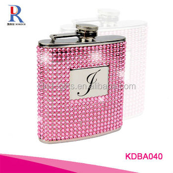 6oz Pink Crystal Bling Stainless Steel Hip Flask Monogram F
