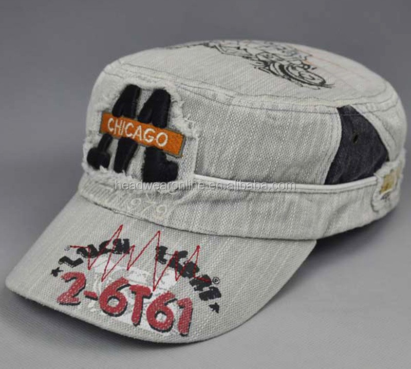 Sublimation Military Hats Caps With Embroidery Patch Distressed Denim Caps