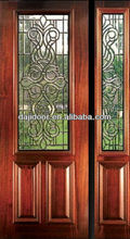 Unequal Double Half Lite Glass Colonial Wood Doors Exterior DJ-S9111MSO