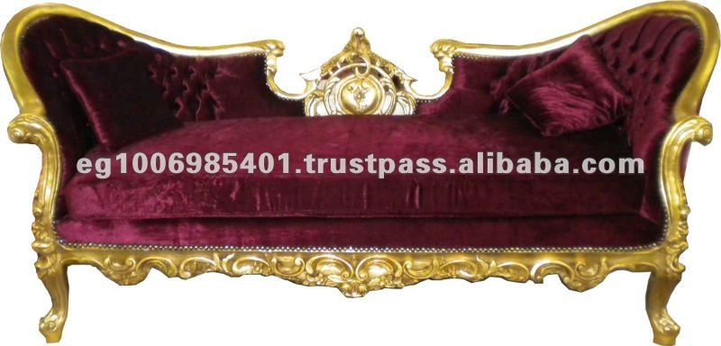 Baroque style furniture love seat red velvet sofa - baroque canape