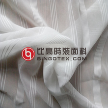 75D Polyester jacquard strip chiffon fabric for dress