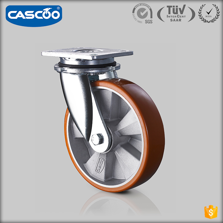 CASCOO High quality 800kg 1000kg Aluminum core heavy duty PU caster wheel
