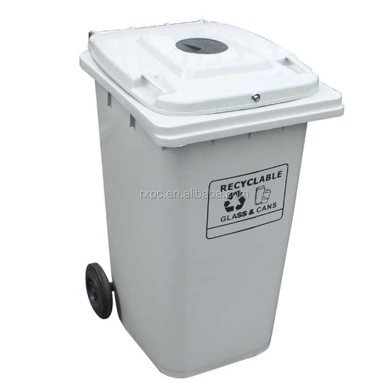 240 lt waste container with rubber stopper and lock in light grey for recyclable Glass & Cans