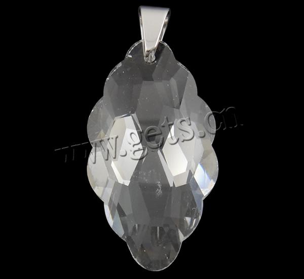 Crystal 44x20.5x10mm crystal stainless steel pendant