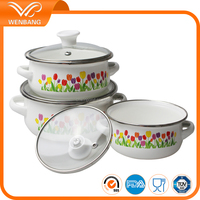 Wholesale cookware porcelain enamel cookware glass lid cookware set