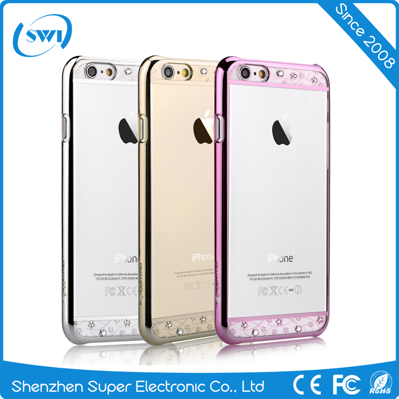 Low Price China Mobile Phone Bling Crystal Silver Diamonds Clear Back PC Phone Cover Case For iPhone 6 6s plus
