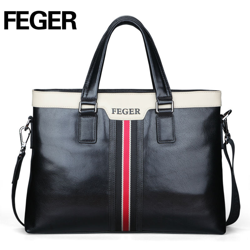 FEGER Hot Sale Cow Leather Fashion Business Bag Men's Briefcase Hanbags briefcase