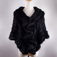 2015 Fashion Fur Cape Genuine hand knitted Rex rabbit fur poncho cheap price