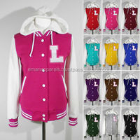 High quality pink varsity jackets for ladies/direct clothing manufacturer