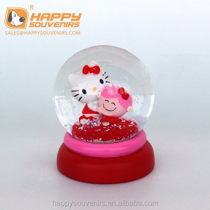 cheap Custom Cartoon hello kitty cat water Snow Globe