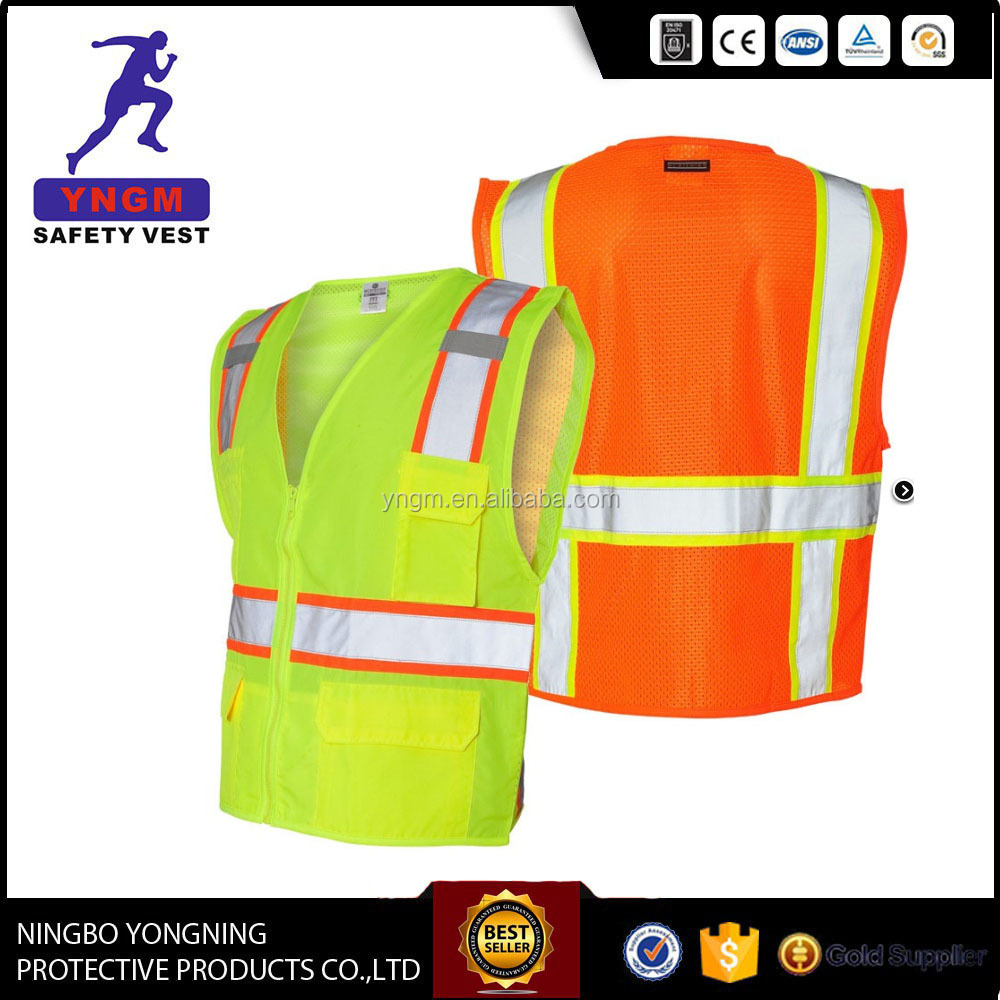 Y9116 China Ningbo factory Hi Vis reflective mesh vest with multi-functional pocket/ fluorescent safety vest